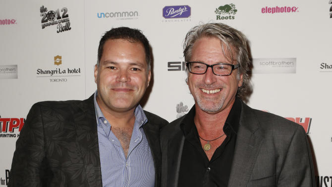 Aaron Douglas and Michael Rymer attend the Producers Ball 2012 at the Shangri-La Toronto on Wednesday Sept. 5, 2012, in Toronto, Canada. (Photo by Todd Williamson/Invision for the Producers Ball/AP Images)