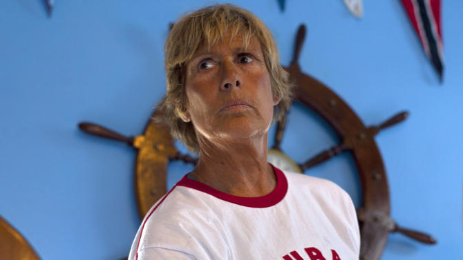 U.S. swimmer Diana Nyad stands after a press conference where she announced her upcoming swim from Cuba to Key West, Florida, in Havana, Cuba, Saturday, Aug. 18, 2012. On Saturday, endurance athlete Nyad will attempt for a fourth time to swim across the Florida Straights without the protection of shark cage in hopes of setting a world record. (AP Photo/Ramon Espinosa)