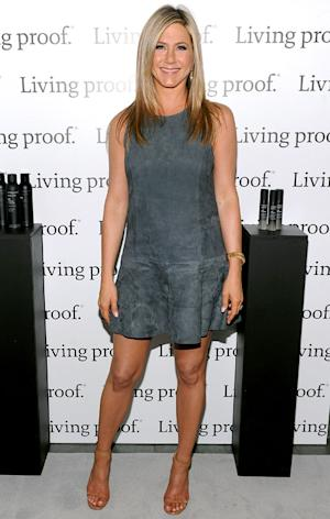 Jennifer Aniston Works Toned Legs in Charcoal Gray Suede Dress: Picture