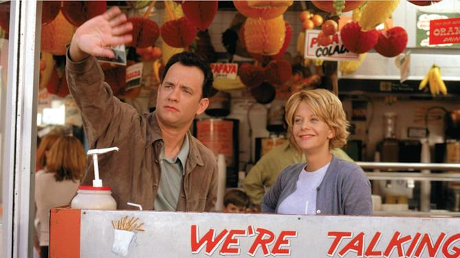 """This image released by Warner Bros. Home Video shows actors Tom Hanks, left, and Meg Ryan in a scene from the romantic comedy """"You've Got Mail,"""" directed, co-written and co-produced by Nora Ephron. Publisher Alfred A. Knopf confirmed Tuesday, June 26, 2012, that author and filmmaker Nora Ephron died Tuesday of leukemia in New York. She was 71. (AP Photo/Warner Bros. Home Video)"""