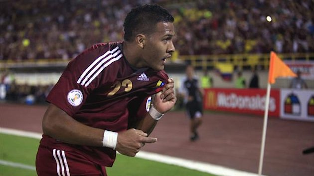Venezuela's Salomon Rondon celebrates after scoring against Colombia (Reuters)