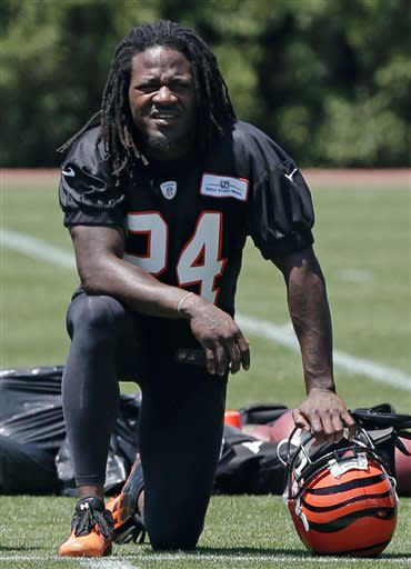 Cincinnati Bengals cornerback Adam Jones takes a break during the team's NFL football minicamp, Tuesday, June 11, 2013, in Cincinnati. Jones' attorney entered a written plea of not guilty Tuesday to an assault charge after police say he hit a woman at a nightclub last week. AP Photo/Al Behrman)