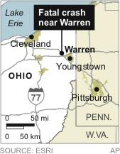 Map locates Warren, Ohio, near the location of a fatal SUV crash