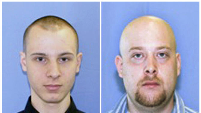This combination of two undated photos provided by the Pittsburgh police shows Garda Cash Logistics armored car guards Kenneth Konias Jr., 22, of Dravosburg, Pa., left, and his partner, Michael Haines, of East McKeesport. Konias, wanted on charges he stole more than $2 million from an armored car he was paid to guard in Pittsburgh, murdering Michael Haines in the process, was arrested Tuesday morning April 24, 2012, in Florida, an attorney and a federal prosecutor said. (AP Photo/Pittsburgh Police)
