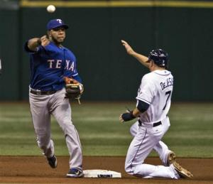 Texas Rangers Elvis Andrus forces out Tampa Bay Rays David DeJesus at second base during their MLB game in St. Petersburg