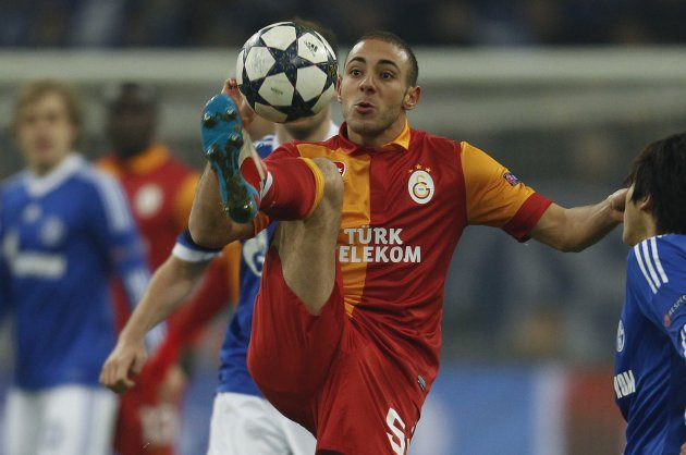 Galatasaray's Zan plays a ball during the Champions League soccer match against Schalke 04 in Gelsenkirchen