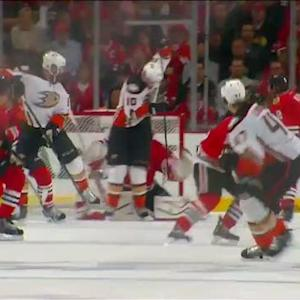 Maroon deflects Lindholm shot past Crawford