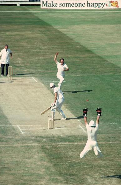 2 Aug 1981:  Ian Botham of England takes the wicket of Terry Alderman of Australia to tie up victory in the 4th Ashes Test match between England and Australia at Edgbaston in Birmingham, England. Engl