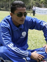 Nepal athlete Bikram Bahadur Rana, pictured here in 2010, has set a new personal best at the Paralympics, capping an extraordinary journey to the British capital from the Himalayan nation where he was blinded by Maoist rebels