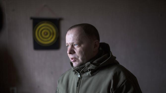 Kononov, defence minister of the separatist self-proclaimed Donetsk People's Republic, speaks during an interview in Donetsk