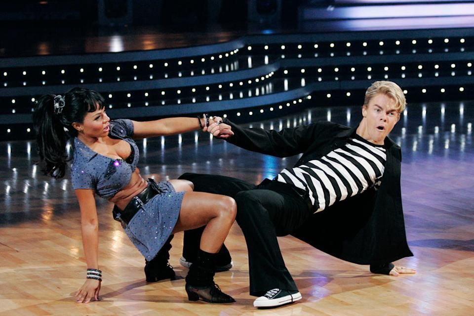 "Lil' Kim and Derek Hough perform the Jive to ""Jailhouse Rock"" by Elvis Presley on ""Dancing with the Stars."""