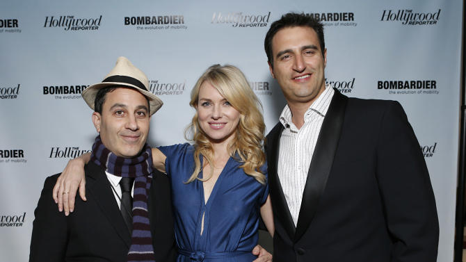 Untitled Management's Jason Weinberg, Naomi Watts and Bombardier's Paul Vitagliano are seen at The Hollywood Reporter's Palm Springs Shuttle presented by Bombardier Business Aircraft - Day 2, on Saturday, January 5, 2013 in Palm Springs, California. (Photo by Todd Williamson/Invision for Bombardier/AP Images)