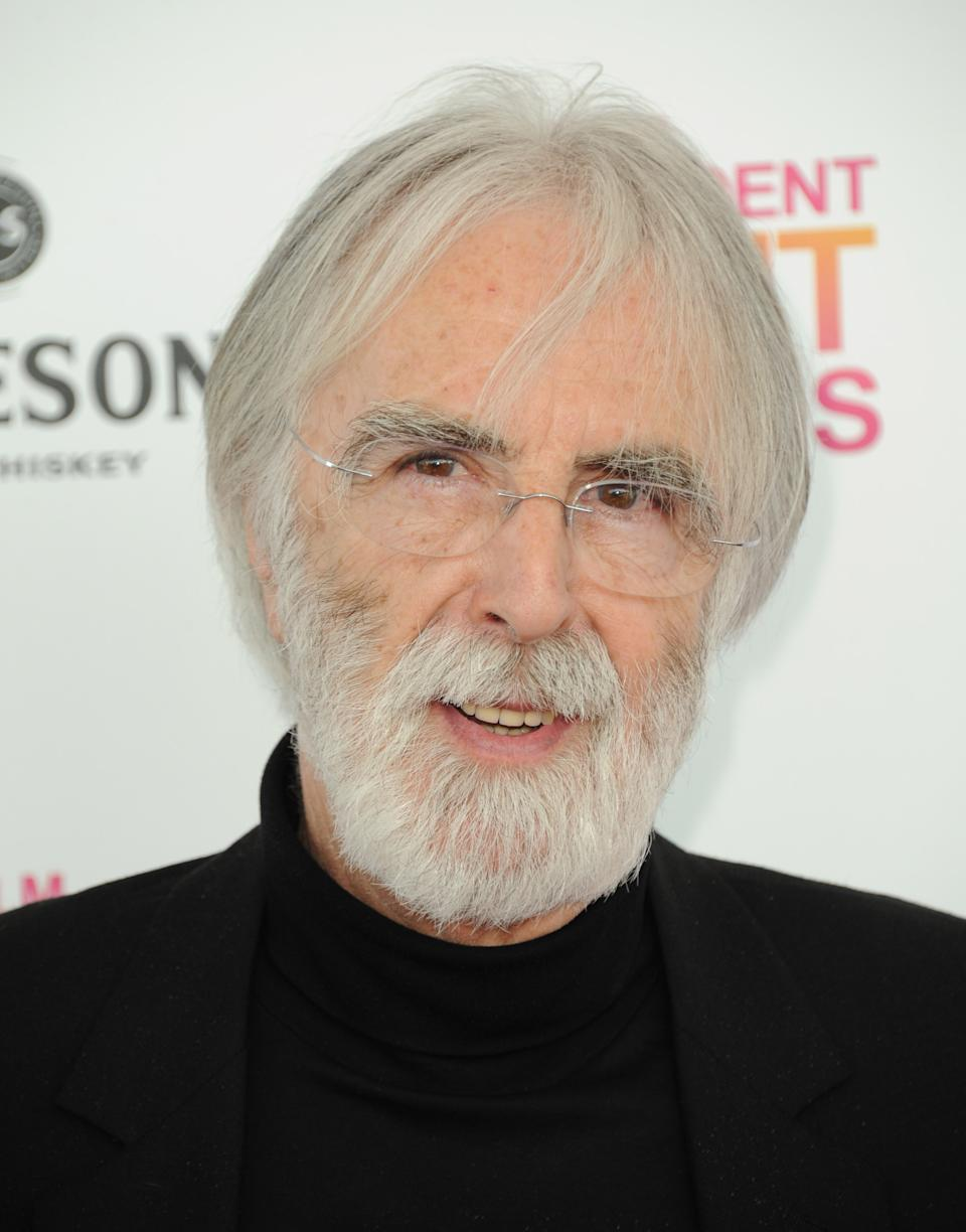 Filmmaker Michael Haneke arrives at the Independent Spirit Awards on Saturday, Feb. 23, 2013, in Santa Monica, Calif.  (Photo by Jordan Strauss/Invision/AP)