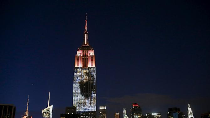 An image of Cecil the lion is projected onto the Empire State Building as part of an endangered species projection to raise awareness, in New York