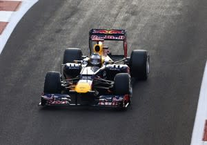 Red Bull driver Sebastian Vettel of Germany starts the race from the pits during the Emirates Formula One Grand Prix, at the Yas Marina racetrack, in Abu Dhabi, United Arab Emirates, Sunday, Nov. 4, 2012. (AP Photo/Luca Bruno)