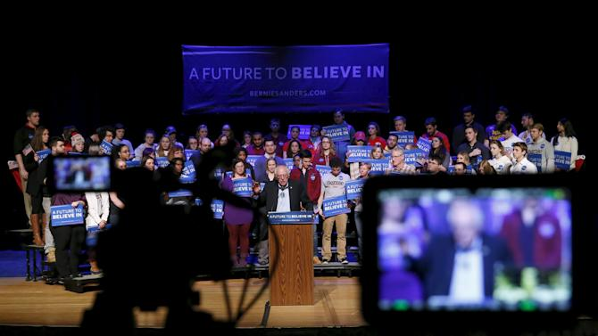 Democratic U.S. presidential candidate Bernie Sanders speaks during a rally in Derry, New Hampshire