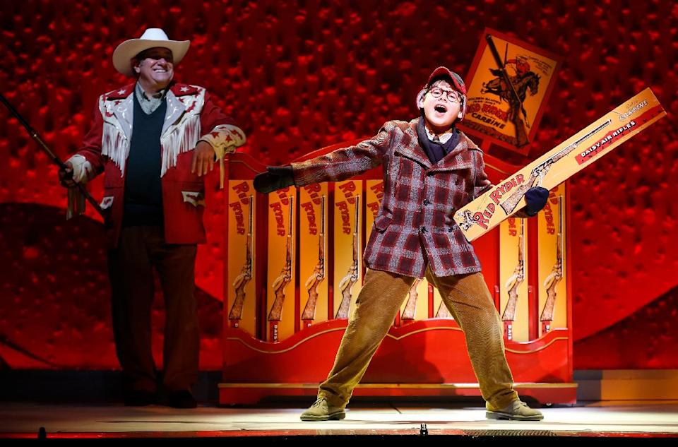 "This theater image released by Keith Sherman & Associates shows Johnny Rabe during a performance of ""A Christmas Story, The Musical"" in New York. (AP Photo/Keith Sherman & Associates, Carol Rosegg)"