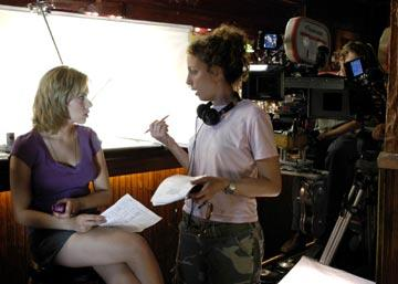 Scarlett Johansson and writer/director Shainee Gabel on the set of Lions Gate Films' A Love Song for Bobby Long