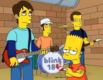 Bart (voiced by Nancy Cartwright) hangs with Blink 182 in the episode 'Barting Over.' Fox's The Simpsons