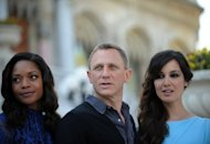 Actors Daniel Craig, Naomie Harris (L) and Berenice Marlohe pose during a presentation of the latest James Bond film in Istanbul in April 2012. A series of events are to be held around the world on October 5 to mark the 50th anniversary of the Bond films, the iconic spy saga that helped define half-a-century of cultural, political and technological upheaval