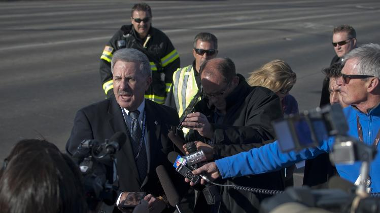 Arapahoe County Sheriff Grayson Robinson speaks to the media outside Arapahoe High School, after a student opened fire in the school in Centennial, Colorado