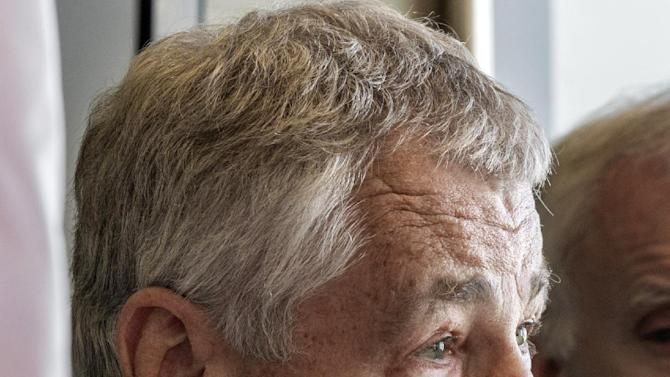 FILE - This Nov. 1, 2012, file photo shows former Nebraska Republican Sen. Chuck Hagel speaking in Omaha, Neb. President Barack Obama's possible pick of Republican Chuck Hagel to run the Pentagon raises serious concerns among some of his former Senate colleagues, who question his pronouncements on Iraq, Israel and the Middle East.    The reservations publicly expressed by a few Republicans and even a Democrat hardly rival the unyielding GOP objections to U.N. Ambassador Susan Rice, who withdrew from consideration last week for secretary of state in the face of relentless attacks mostly over her public statements about the Sept. 11 assault on the diplomatic mission in Benghazi, Libya. (AP Photo/Nati Harnik, File)