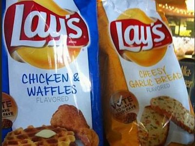 chicken and waffles and cheesy garlic bread lays