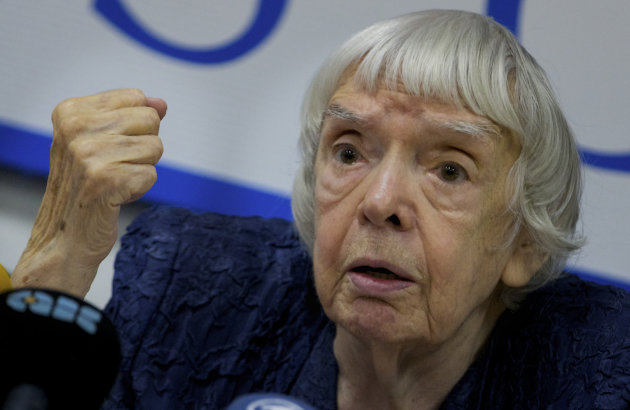 Russian human rights activist Lyudmila Alexeyeva speaks at a news conference in Moscow, Thursday, Sept. 27, 2012. Russian non-government organizations say they will ignore a new Kremlin law obliging those of them that receive funding from abroad to register as &quot;foreign agents.&quot; Lyudmila Alexeyeva, a Soviet-era dissident who heads the Moscow Helsinki Group said Thursday that Russian rights activists have &quot;survived the Soviet power and .. will survive this.&quot; (AP Photo/Ivan Sekretarev)