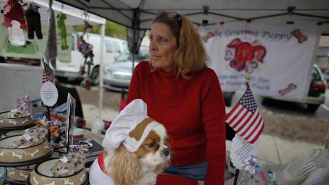 """Cynthia Kopp and her dog Aires wait for customers at a farmers market, Saturday Oct. 6, 2012, in Doylestown Pa. Kopp, 56, lost her accounting job in the recession and now works part-time as a supermarket cashier and comes to the farmers market each week to sell $5 bags of her gourmet dog biscuits.  """"If Aries could vote he would vote for Romney,"""" Kopp said. """"Because mommy needs a job and she thinks Romney is the only candidate that could help get her one.""""(AP Photo/ Joseph Kaczmarek)"""