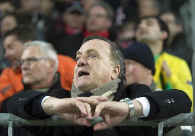 AZ Alkmaar's coach Advocaat is banned to the stands during the Europa League soccer match against FC Anji Makhachkala