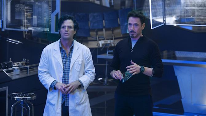 "This photo released by Marvel shows, Mark Ruffalo, left, as Bruce Banner/Hulk and Robert Downey Jr. as Tony Stark/Iron Man, in a scene from Marvel's ""Avengers: Age of Ultron."" The film releases in the U.S. on May 1, 2015. (AP Photo/Marvel, Jay Maidment)"