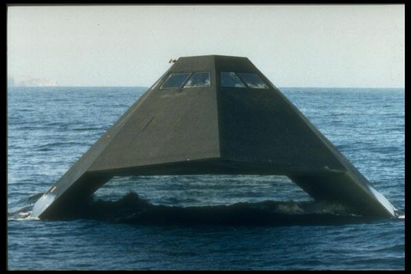 Sea Shadow test craft built (by Lockheed) as limited mobility platform to explore advanced technologies for surface ships, in 1st daylight test off coast of southern CA.  (Photo by Time Life Pictures/US Navy/Time Life Pictures/Getty Images)