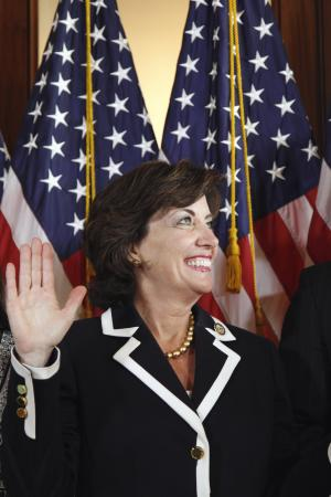 Rep. Kathy Hochul, D-N.Y. takes part in ceremonial swearing-in ceremony on Capitol Hill in Washington, Wednesday, June 1, 2011, following her official swearing in on the floor of the House.  (AP Photo/Alex Brandon)