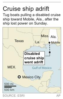 Map locates position where cruise ship became disabled
