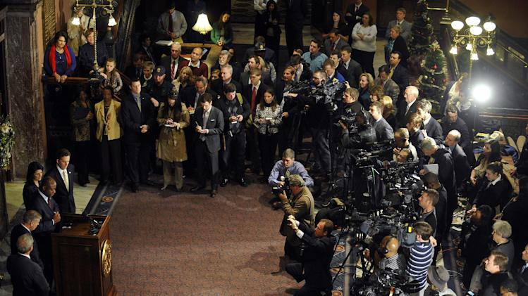 U.S. Rep. Tim Scott speaks during a news conference after being named Jim DeMint's replacement in the U.S. Senate at the South Carolina Statehouse on Monday, Dec. 17, 2012, in Columbia, S.C. (AP Photo/Rainier Ehrhardt)