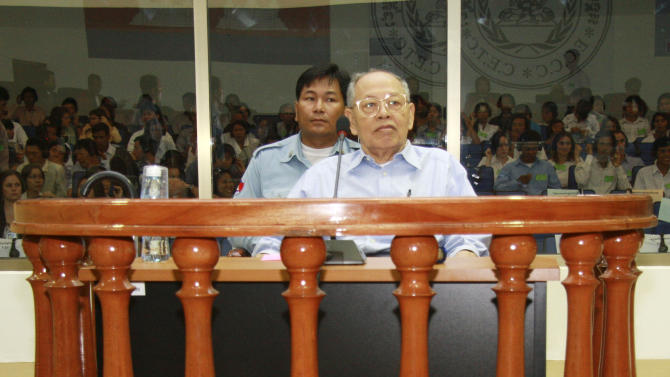 FILE - In this June 30, 2008 file photo, Ieng Sary, a former Khmer Rouge foreign minister, sits in the dock in the courtroom for a hearing at the U.N.-backed genocide tribunal in Phnom Penh, Cambodia. Ieng Sary, who co-founded Cambodia's brutal Khmer Rouge movement in 1970s, served as its public face abroad and decades later became one of its few leaders to face justice for the deaths of well over a million people, died Thursday morning, March 14, 2013. He was 87. (AP Photo/Pring Samrang, Pool, FIle)