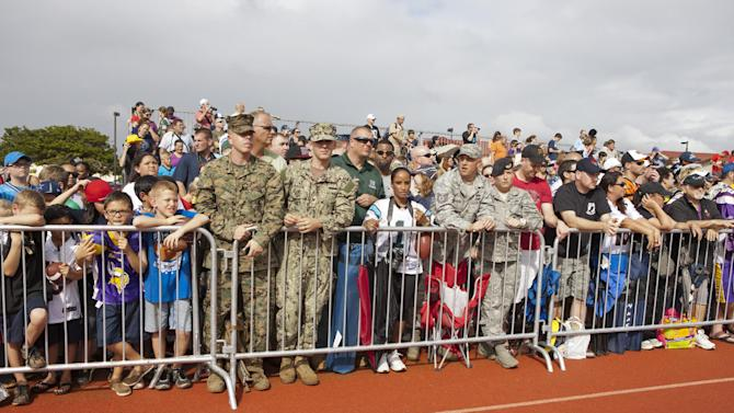 Fans line the practice field during NFL Pro Bowl Practice at Joint Base Pearl Harbor Hickam, Thursday, Jan. 24. 2013 in Honolulu.  (Marco Garcia/AP Images for USAA)
