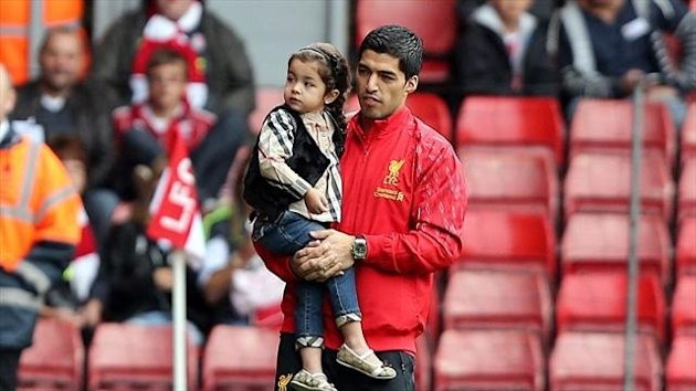 Luis Suarez was at Anfield to see Liverpool win 1-0 against Stoke