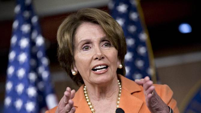 House Minority Leader Nancy Pelosi of Calif. gestures as she meets with reporters during a news conference on Capitol Hill in Washington, Thursday, Dec. 13, 2012. Pelosi questions why the fiscal cliff negotiations are going to the last minute.  (AP Photo/J. Scott Applewhite)