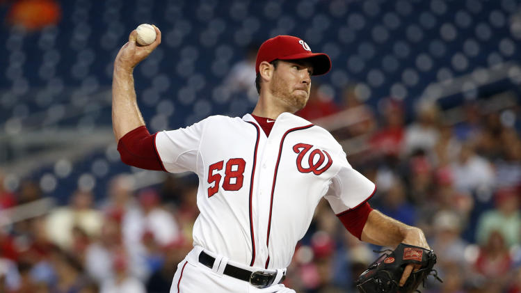Washington Nationals starting pitcher Doug Fister throws during the third inning of a baseball game against the Philadelphia Phillies at Nationals Park, Friday, Aug. 1, 2014, in Washington. (AP Photo/Alex Brandon)