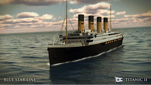 In this rendering provided by Blue Star Line, the Titanic II is shown cruising at sea. The ship, which Australian billionaire Clive Palmer is planning to build in China, is scheduled to sail in 2016.