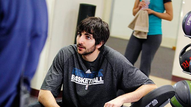 "IMAGE DISTRIBUTED FOR MEDTRONIC FOUNDATION'S HEARTRESCUE PROJECT - In this Image released on Tuesday, Feb. 05, 2013, NBA player Ricky Rubio learns how to save a life from sudden cardiac arrest during a video shoot for an interactive online experience called the ""Save-A-Life Simulator"" found on HeartRescueNow.com.  (Photo by Genevieve Ross/Invision for Medtronic Foundation's HeartRescue Project/AP Images)"