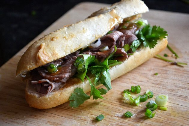 Use finely sliced Aberdeen Angus roast beef to create this baguette ...