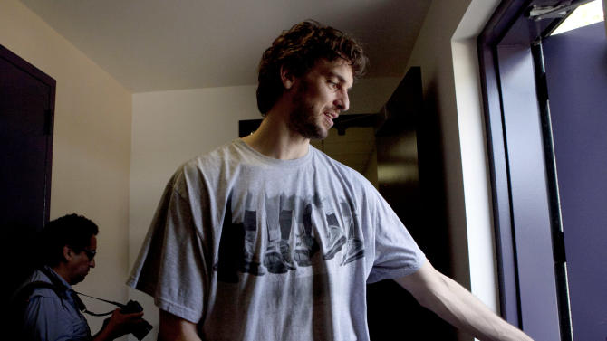 Los Angeles Lakers' Pau Gasol, of Spain, leaves the Lakers' practice facility after his exit interview in El Segundo, Calif., Tuesday, May 10, 2011. The Lakers were swept by the Dallas Mavericks in the second round of the NBA basketball playoffs. (AP Photo/Jae C. Hong)