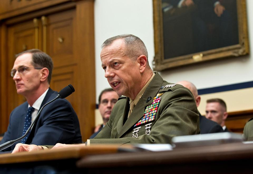 Marine Gen. John Allen, the top U.S. commander in Afghanistan, right, testifies on Capitol Hill in Washington, Tuesday, March 20, 2012, before the House Armed Services Committee hearing on Afghanistan. at left is  Acting Defense Undersecretary James N. Miller Jr. (AP Photo/J. Scott Applewhite)