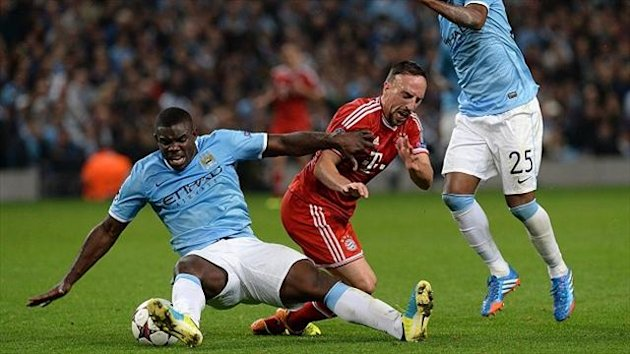 Manchester City defender Micah Richards, left, made only his second apperance of the season against Bayen Munich (PA Photos)