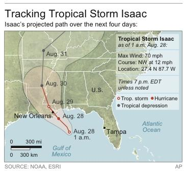 Map shows projected path of Tropical Storm Isaac