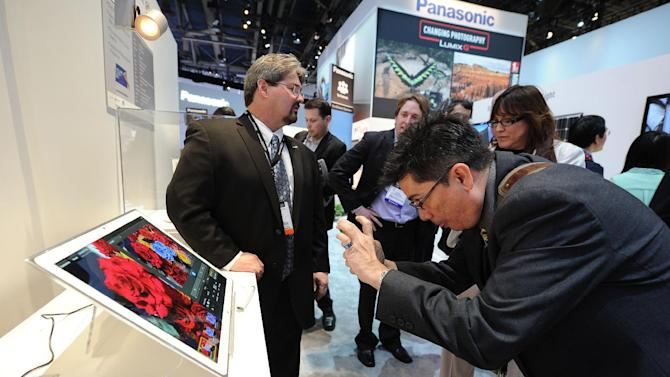 "IMAGE DISTRIBUTED FOR PANASONIC - The New 20"" 4K Tablet on display at the Panasonic booth at the 2013 International Consumer Electronics Show, on Tuesday, Jan. 08, 2013, in Las Vegas, NV. (Photo by Al Powers/Invision for Panasonic/AP Images)"