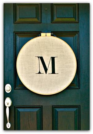 Embroidery Hoop Monogram Door Hanging