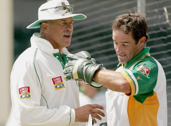 ANTIGUA - MARCH 28: (TOUCHLINE IMAGES ARE AVAILABLE TO CLIENTS IN THE UK, USA AND AUSTRALIA ONLY) Mark Boucher and coach Ray Jennings during the SA cricket team practice session at Jolly Harbour crick
